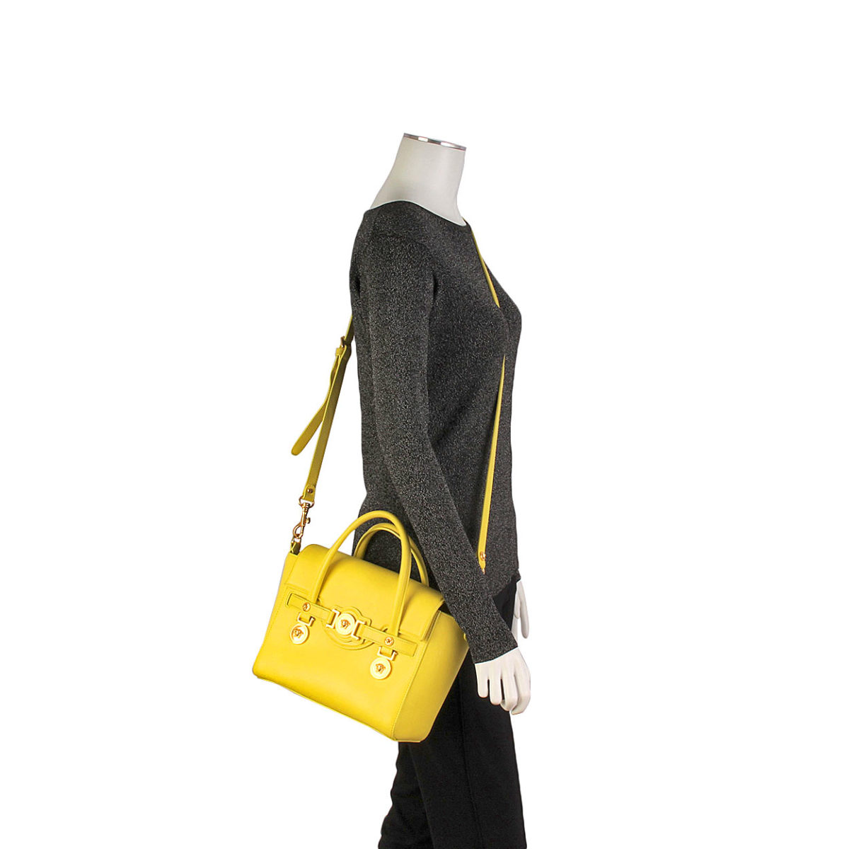 2017fd920a VERSACE Small Signature Flap Bag Yellow