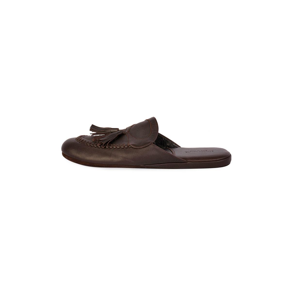 3c4bdcb5487d BOTTEGA VENETA Leather Slippers Brown - S  44 (9.5)