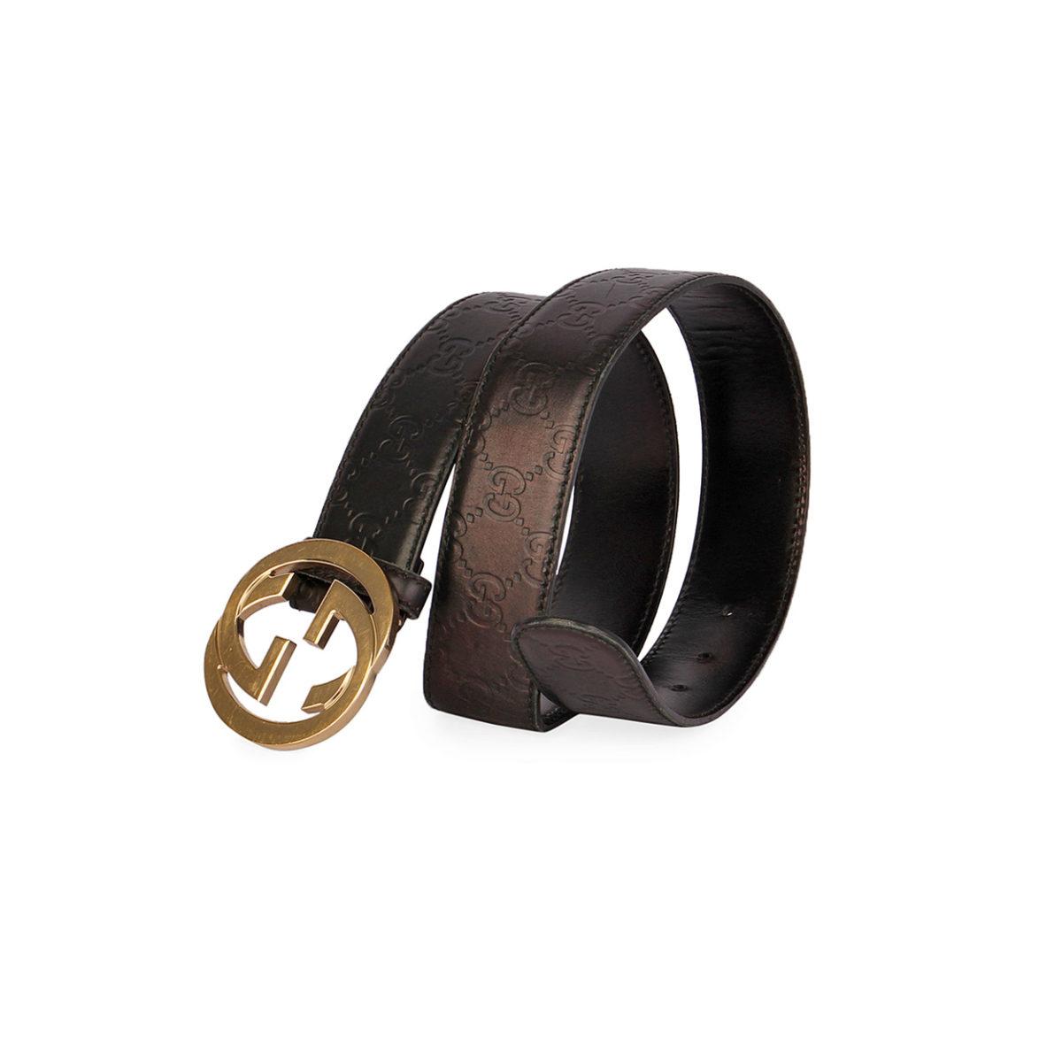f28a175c8f9 GUCCI Guccissima Belt w  Interlocking GG Buckle Black - 80 (32)
