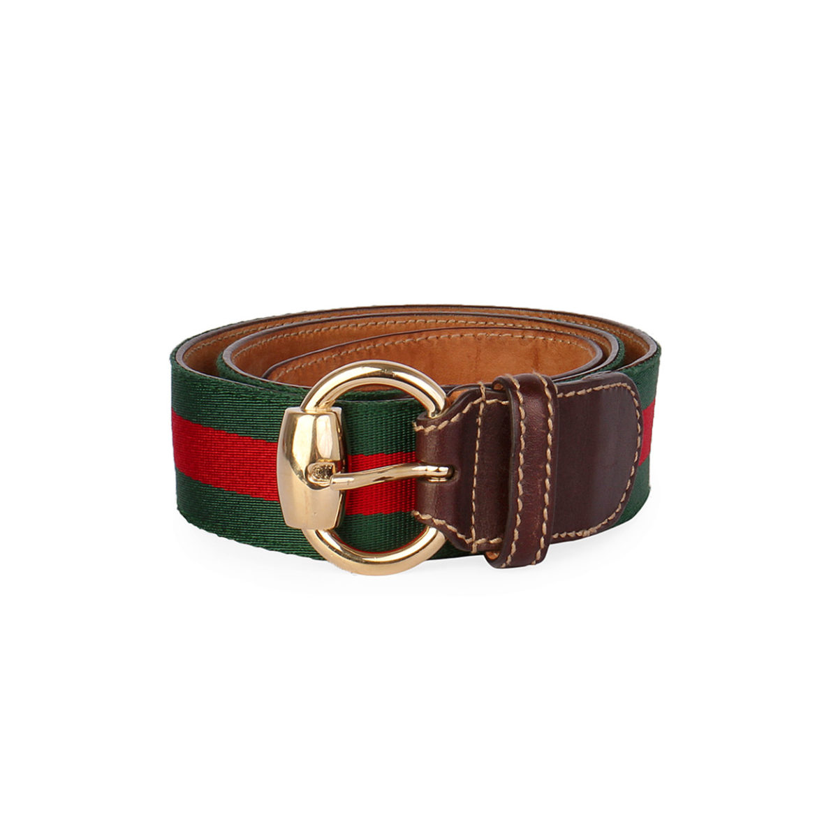 gucci leather trimmed web belt brown 80 32 luxity