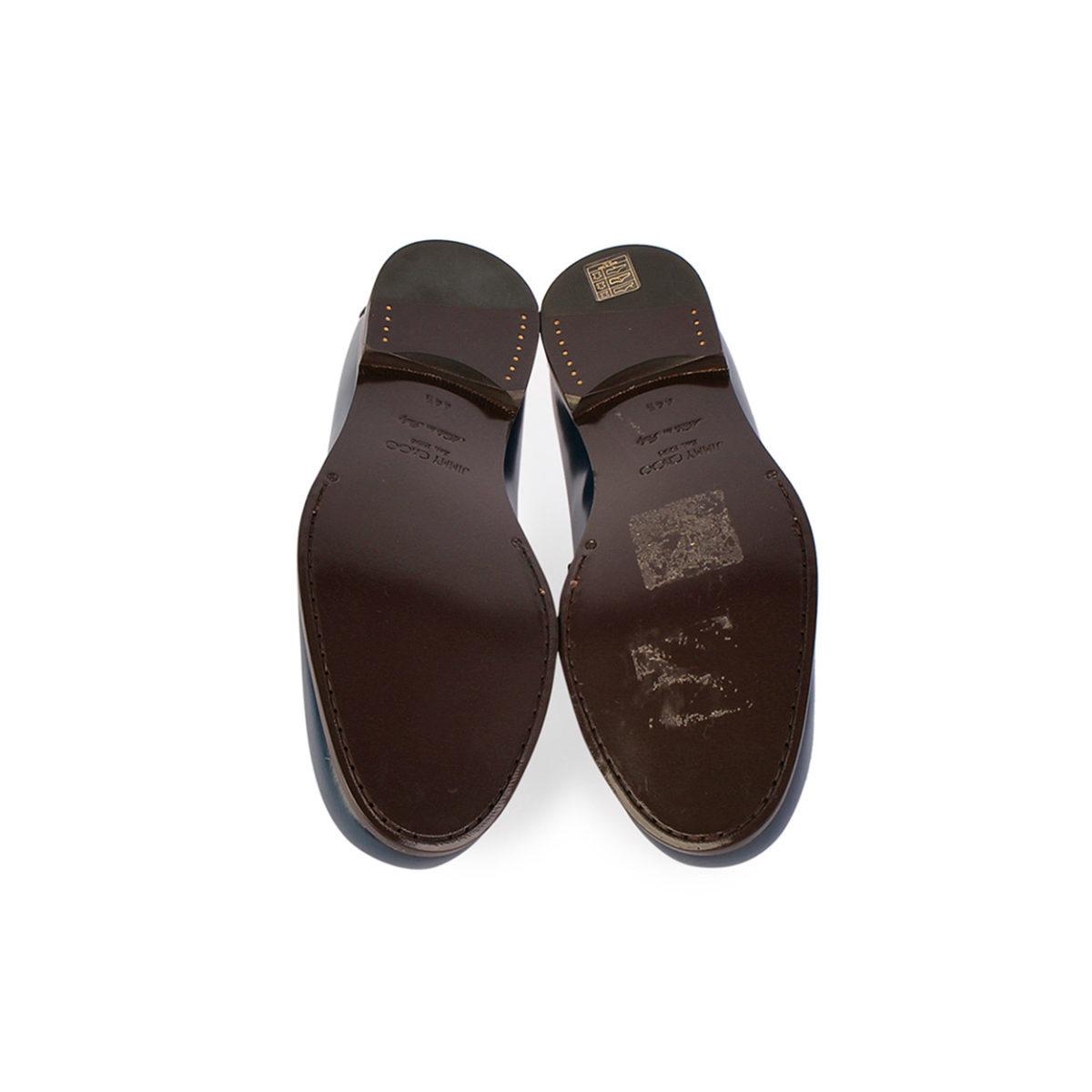 5ef6650bd05 JIMMY CHOO Darblay Shiny Calf Penny Loafers Navy – S  44.5 (10) ...