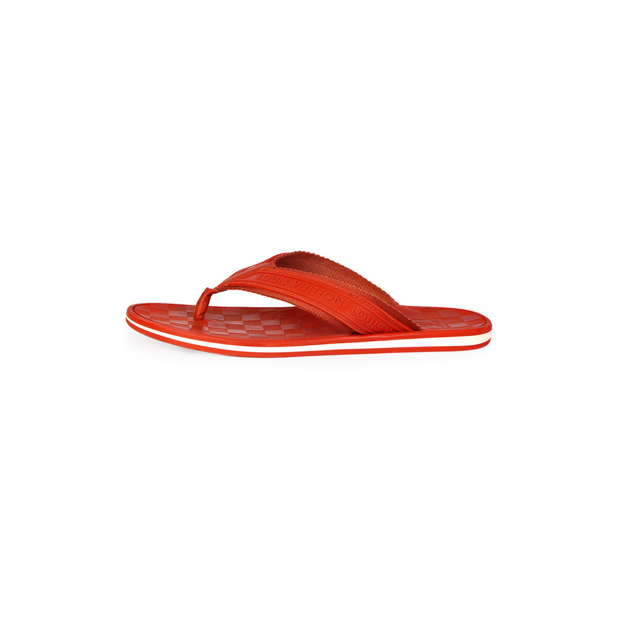 d9b48d263b474a LOUIS VUITTON Men s Damier Rubber Key Flip Flops Red - S  44 (9.5 ...