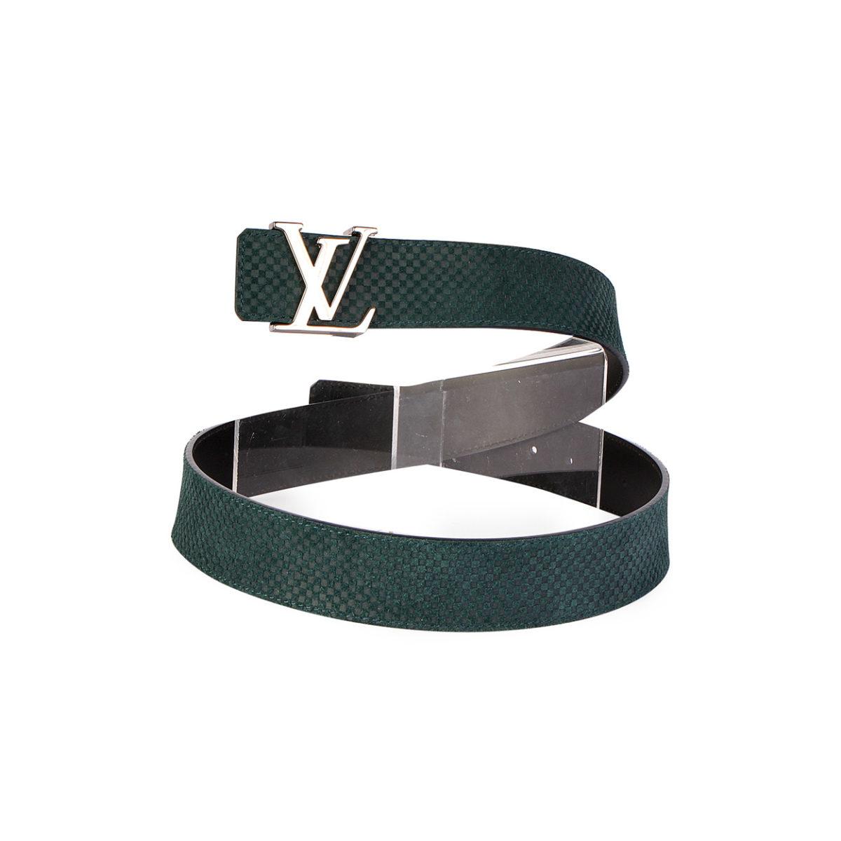 LOUIS VUITTON Mini Damier Suede Calfskin 40mm LV Initiales Belt Olive Green  - S: 110 (44)