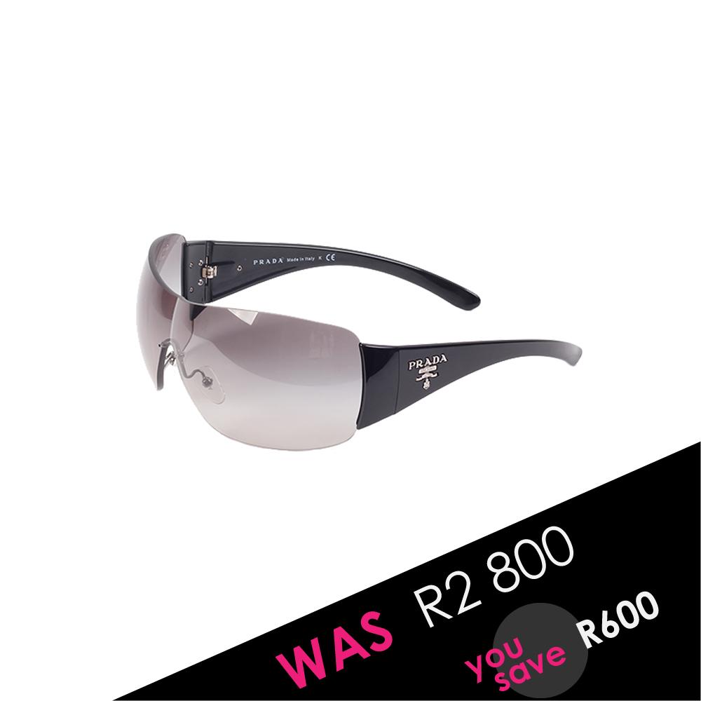 d3a4c8223 PRADA Black Rimless Shield Sunglasses SPR22M | Luxity