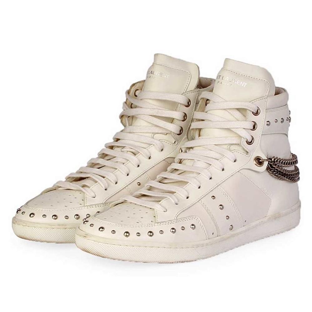 buy popular 6e93d b8fdf SAINT LAURENT Leather Studded High-Top SL/22H Sneaker - S: 39 (6)