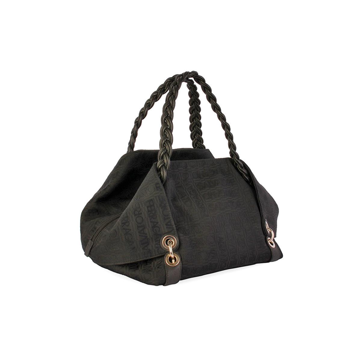 SALVATORE FERRAGAMO Canvas Shoulder Bag Black  d96b64f669747