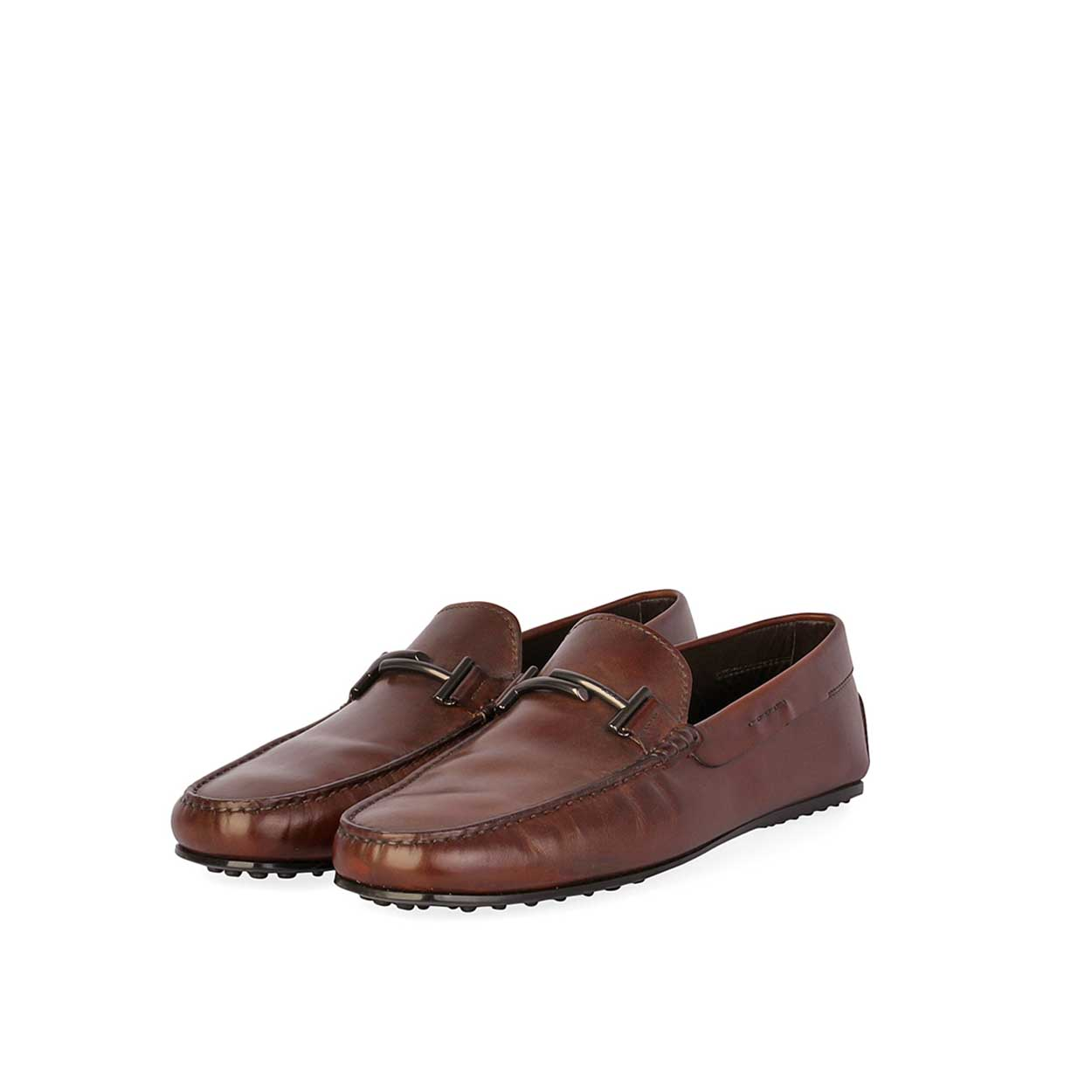 tods men s gommino double t loafers brown s 45 10 5. Black Bedroom Furniture Sets. Home Design Ideas