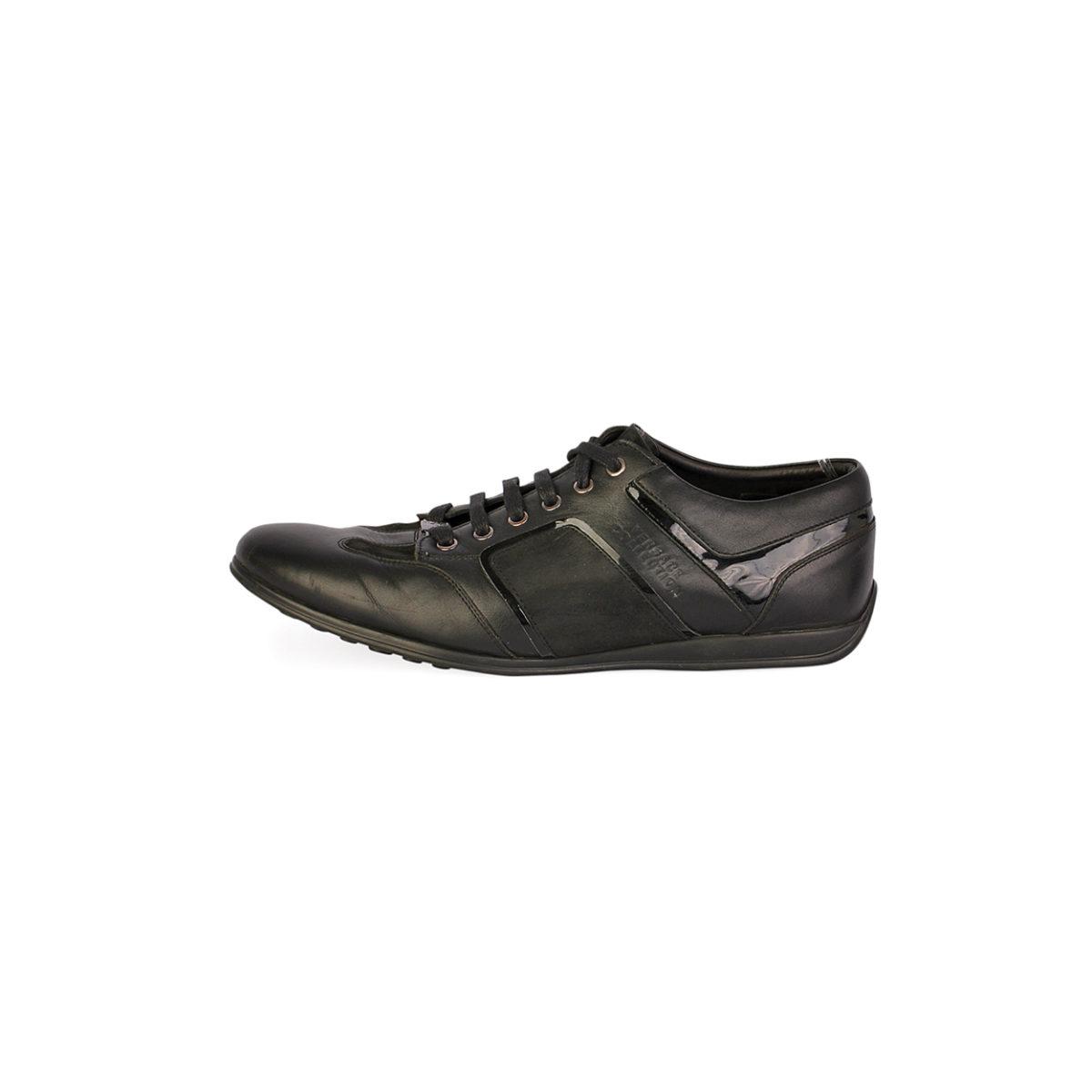 4ca6cd60 VERSACE Collections Men's Embossed Leather Top Sneakers Black - S: 44 (9.5)