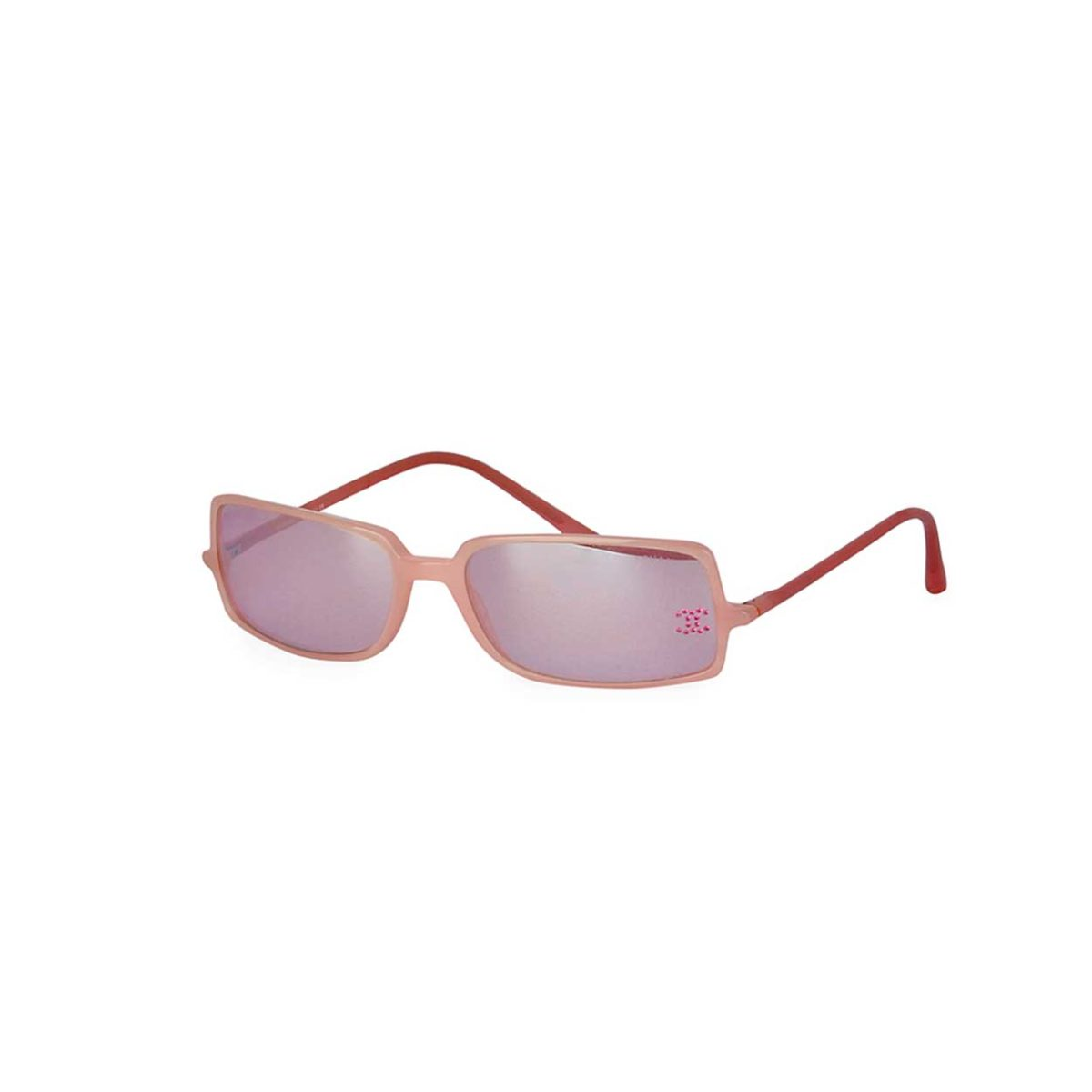 ef00e381e21 CHANEL Rhinstone CC Logo Mirrored Sunglasses Light Pink 5043