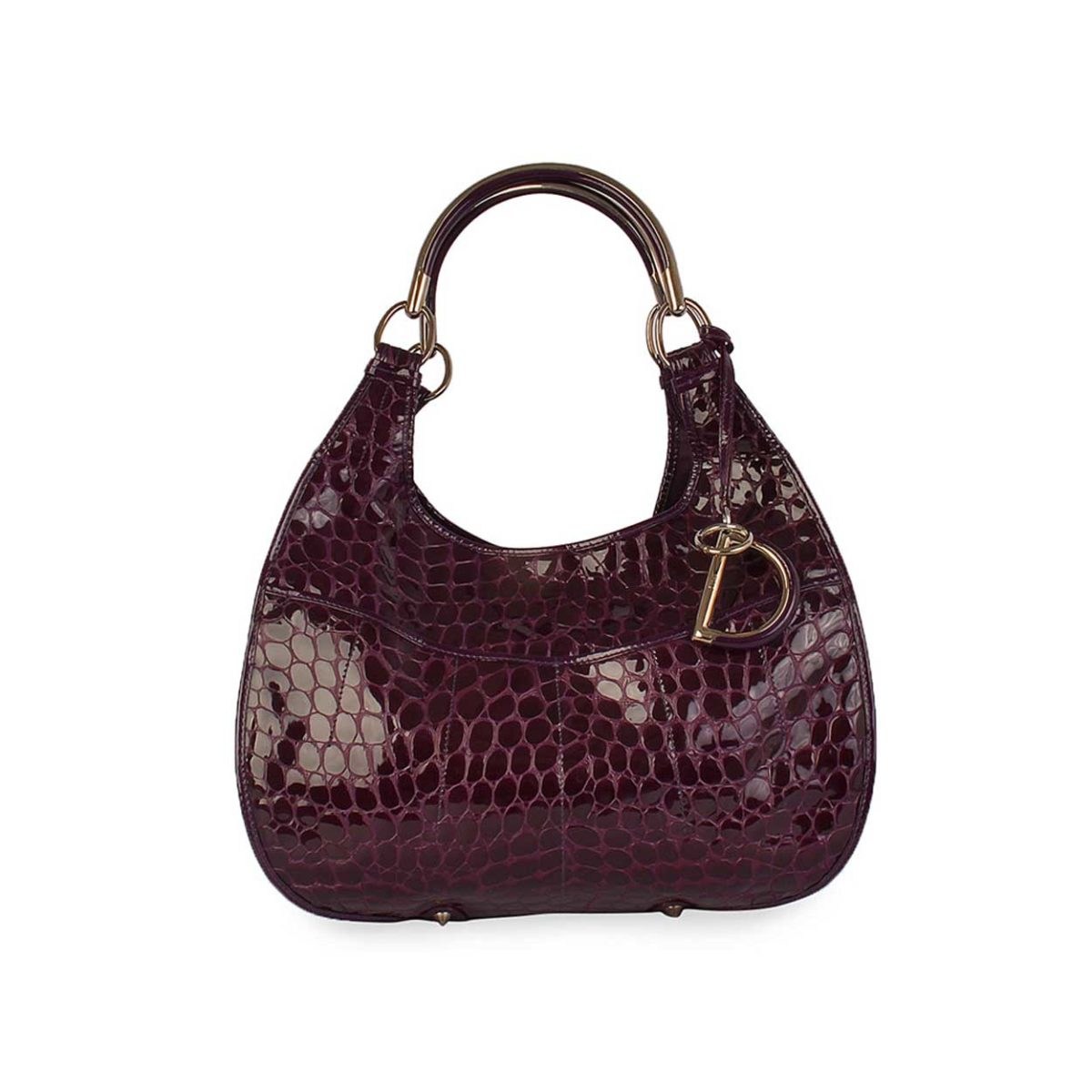 CHRISTIAN DIOR Patent Crocodile Embossed Leather Hobo ...