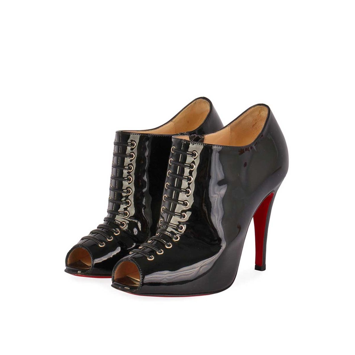 4758241d886 CHRISTIAN LOUBOUTIN Patent Corsita 100 Lace-Up Booties Black – S: 36.5 (3.5)