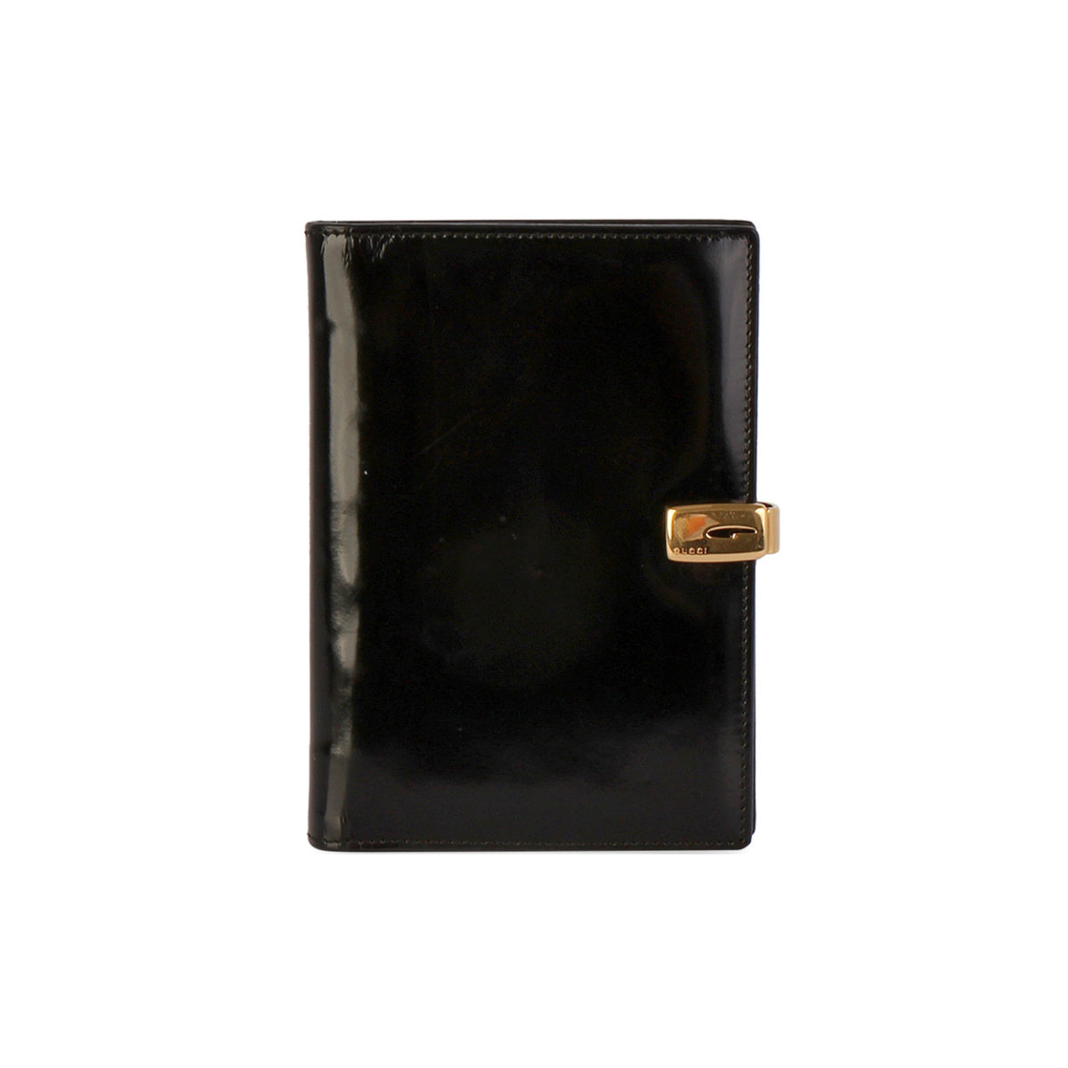 eaac337b278 GUCCI Patent Leather Agenda Cover Black | Luxity