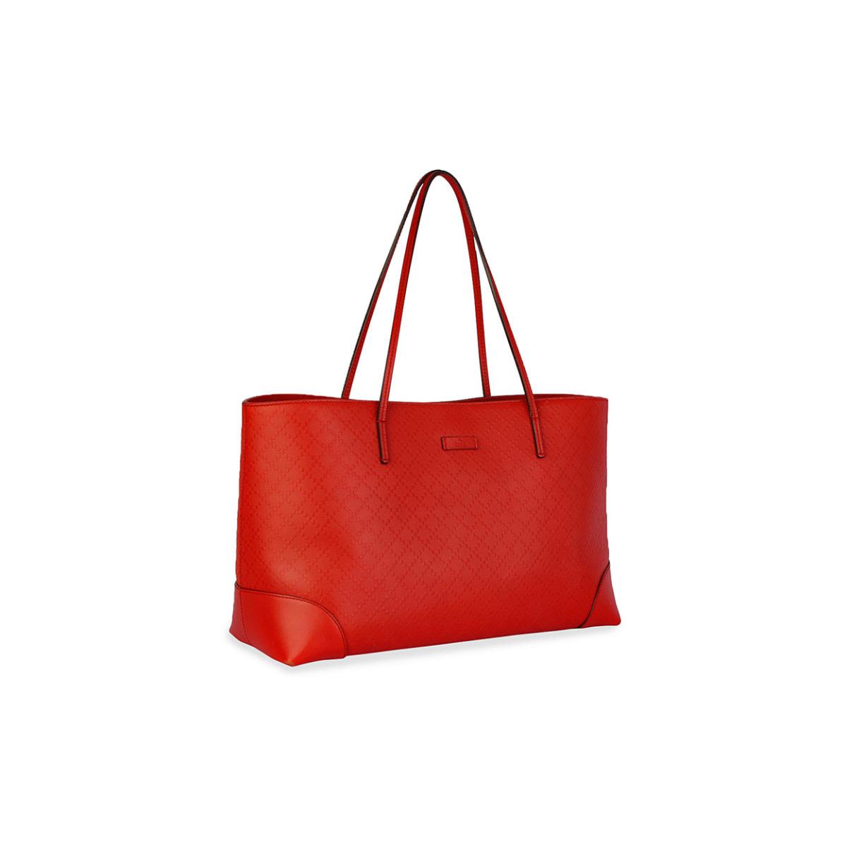 022401900017 GUCCI Bright Diamante Leather Tote Red   Luxity