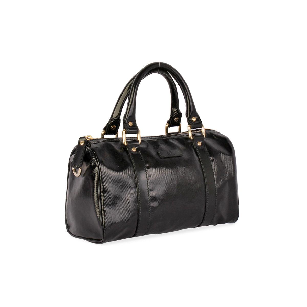 b4e35a0dca9 GUCCI Patent Boston Bag Black