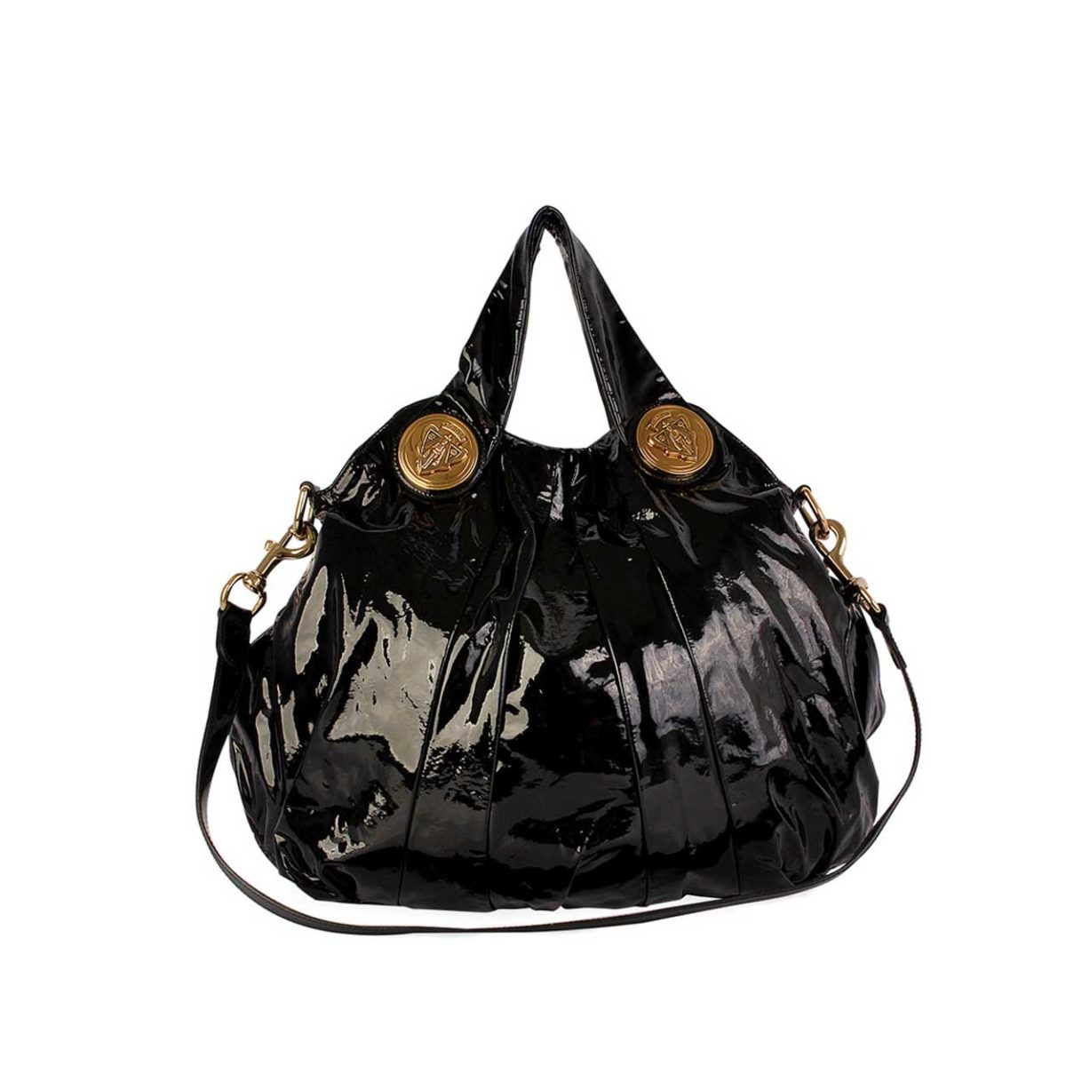 731fc8f7887 GUCCI Patent Leather Hysteria Large Top Handle Black