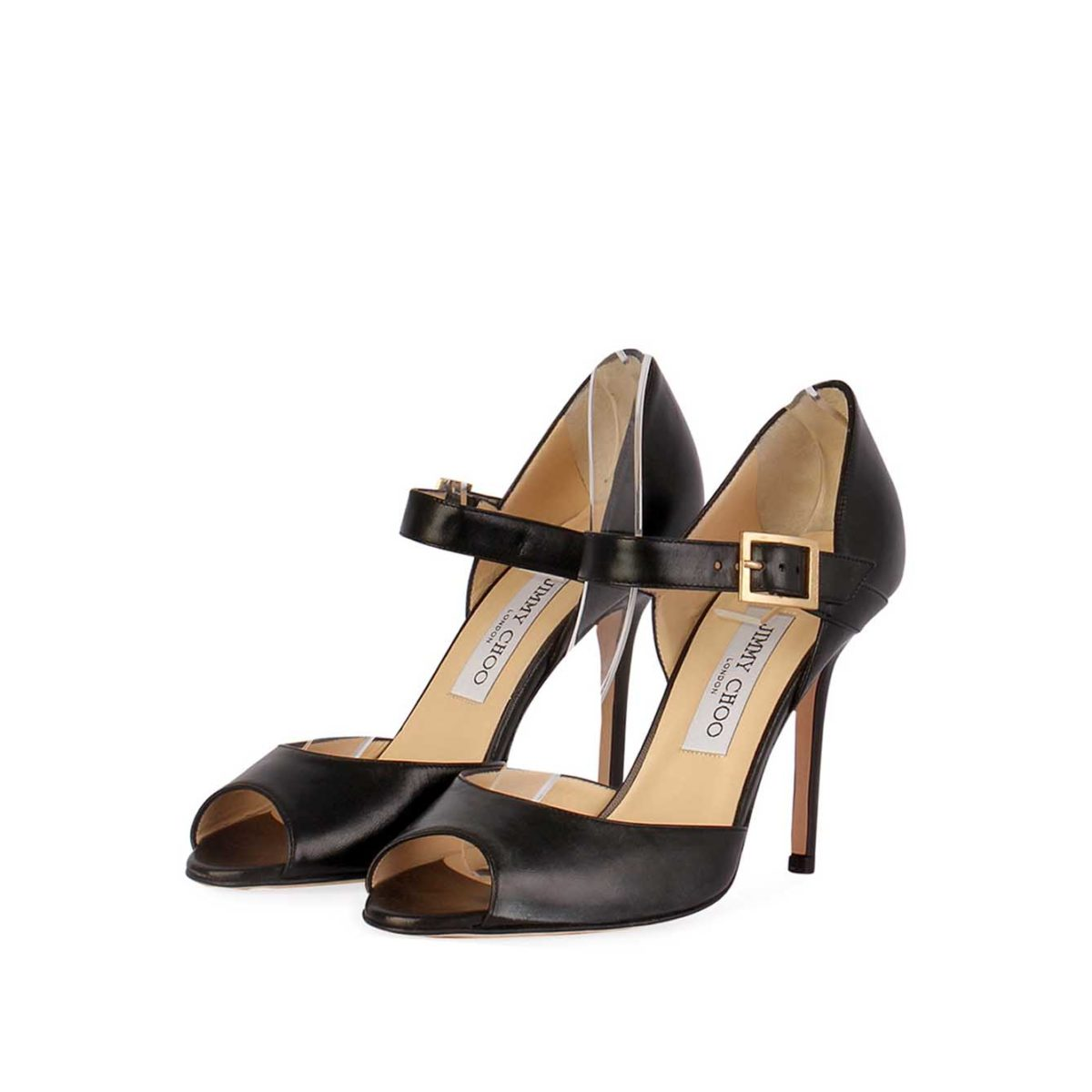 bc472efd5 JIMMY CHOO Leather Peep-Toe Heels with Strap Detail Black – S: 38 (5 ...