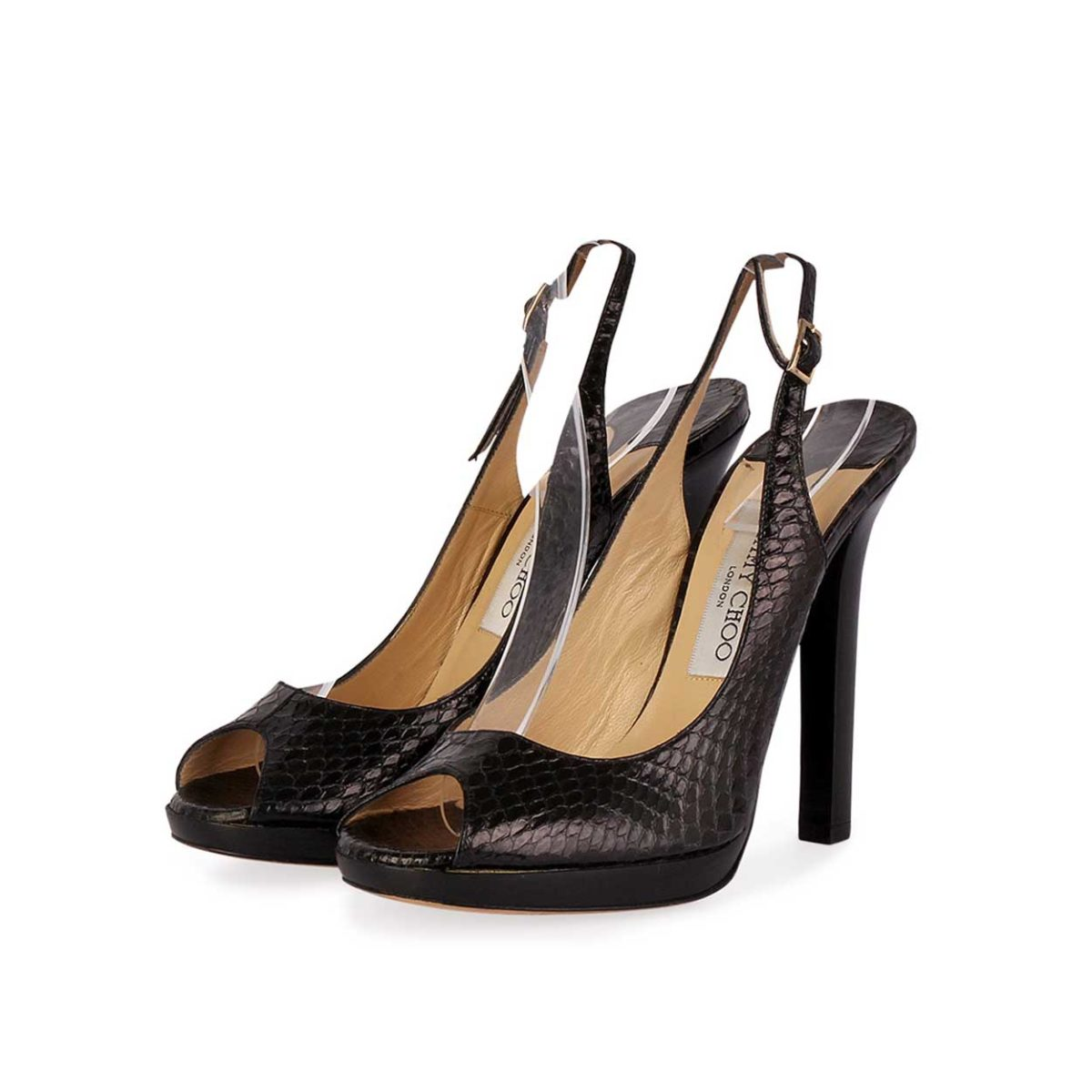 0c07c5be8954 JIMMY CHOO Snakeskin Print Peep Toe Slingback Sandals Black - 37.5 ...