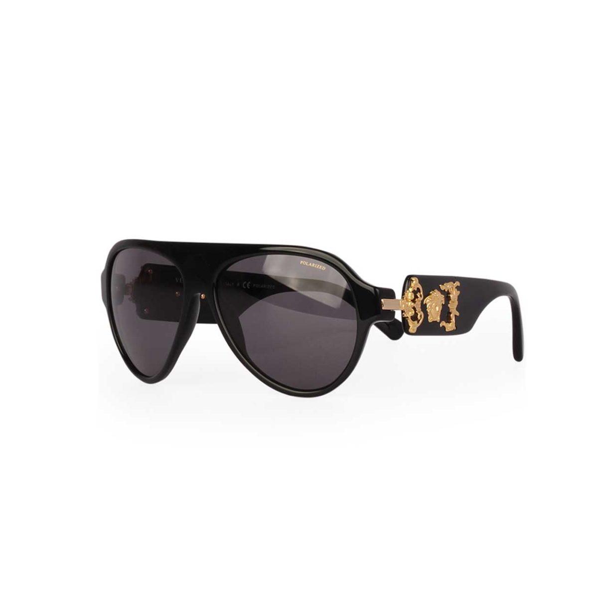 07175addc7669 VERSACE Polarized Gold Medusa Sunglasses Black 4323 GB1 81