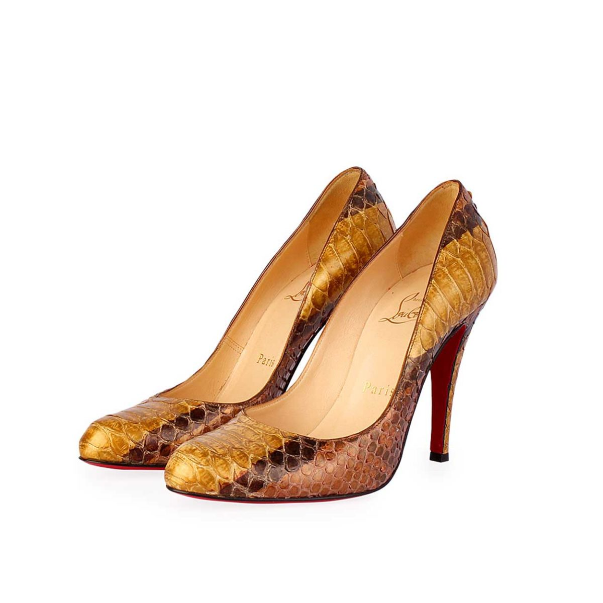 sneakers for cheap e3fd3 a8516 CHRISTIAN LOUBOUTIN So Kate Watersnake Pumps Brown/Gold – S: 35.5 (3)