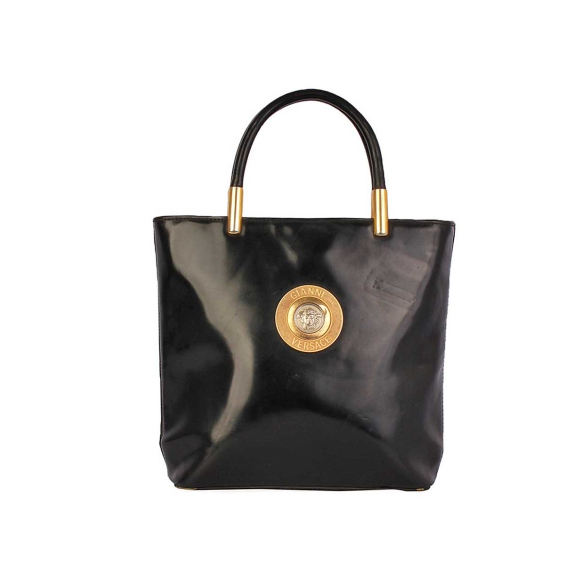 Gianni Versace Vintage Leather Top Handle Medusa Bag Black 876 00 511 Loading