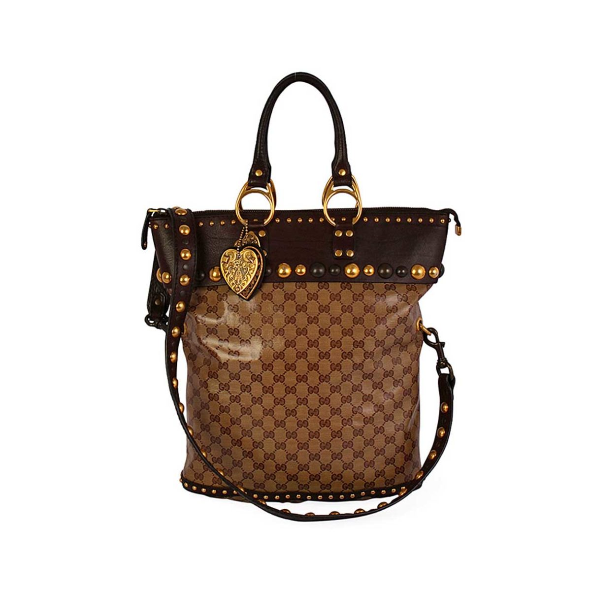 f5e8afee3ec4 GUCCI Crystal GG Babouska Studded Tote Brown | Luxity