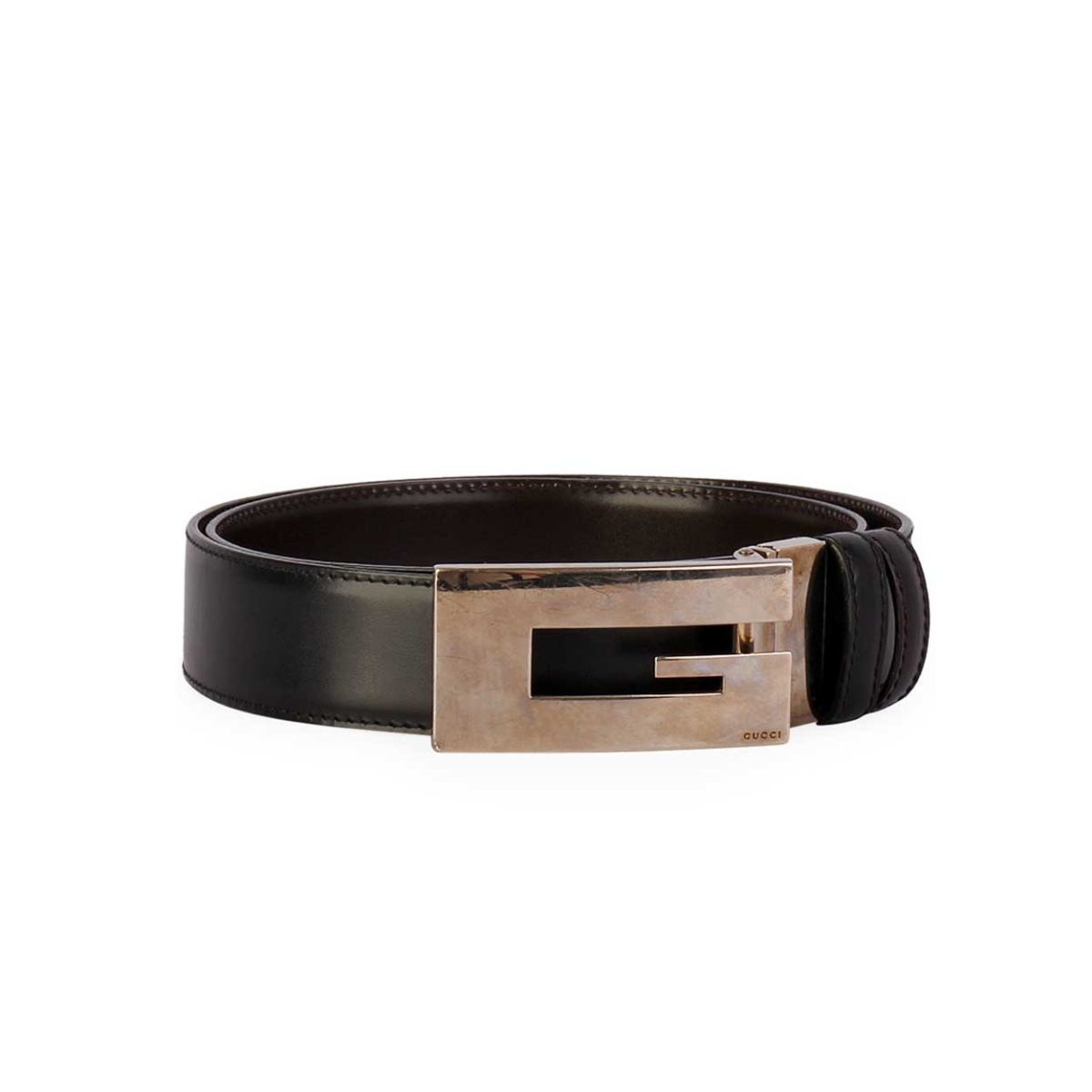 b54a676472ee8 GUCCI G Silver Logo Leather Belt Black – S  90 (36)