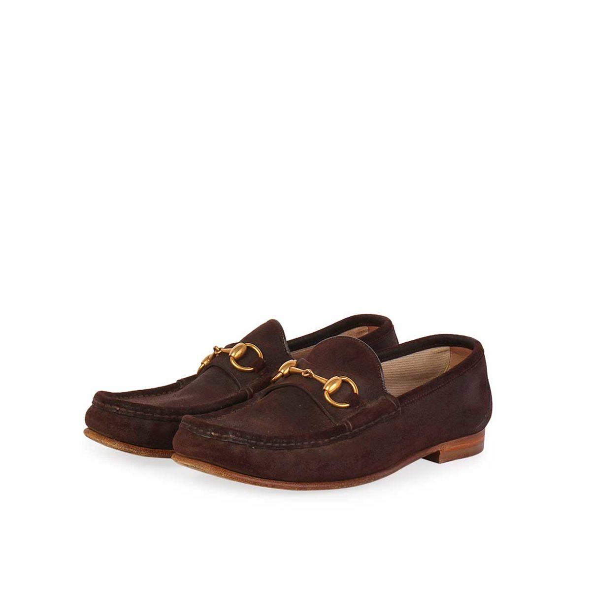 d333e3deb56 GUCCI Vintage Horsebit Suede Loafers Dark Brown - S  40 (6.5)