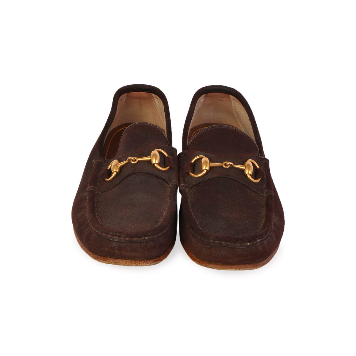 d2a836150e05c8 GUCCI Vintage Horsebit Suede Loafers Dark Brown - S  40 (6.5)