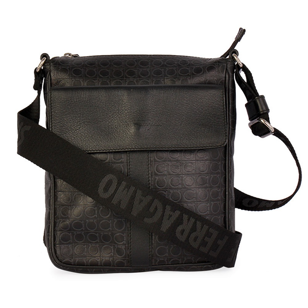 SALVATORE FERRAGAMO Logo Embossed Messenger Bag Black  6b2bfadb17d02