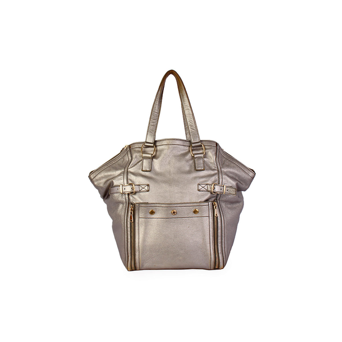 df38ffd42728 YVES SAINT LAURENT Metallic Leather Large Downtown Tote Silver - Luxity