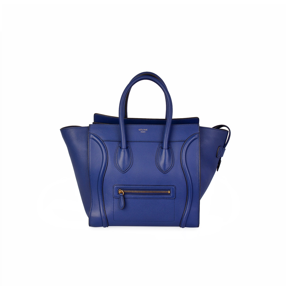 9d3df51d9 CELINE Calfskin Medium Luggage Bag Blue