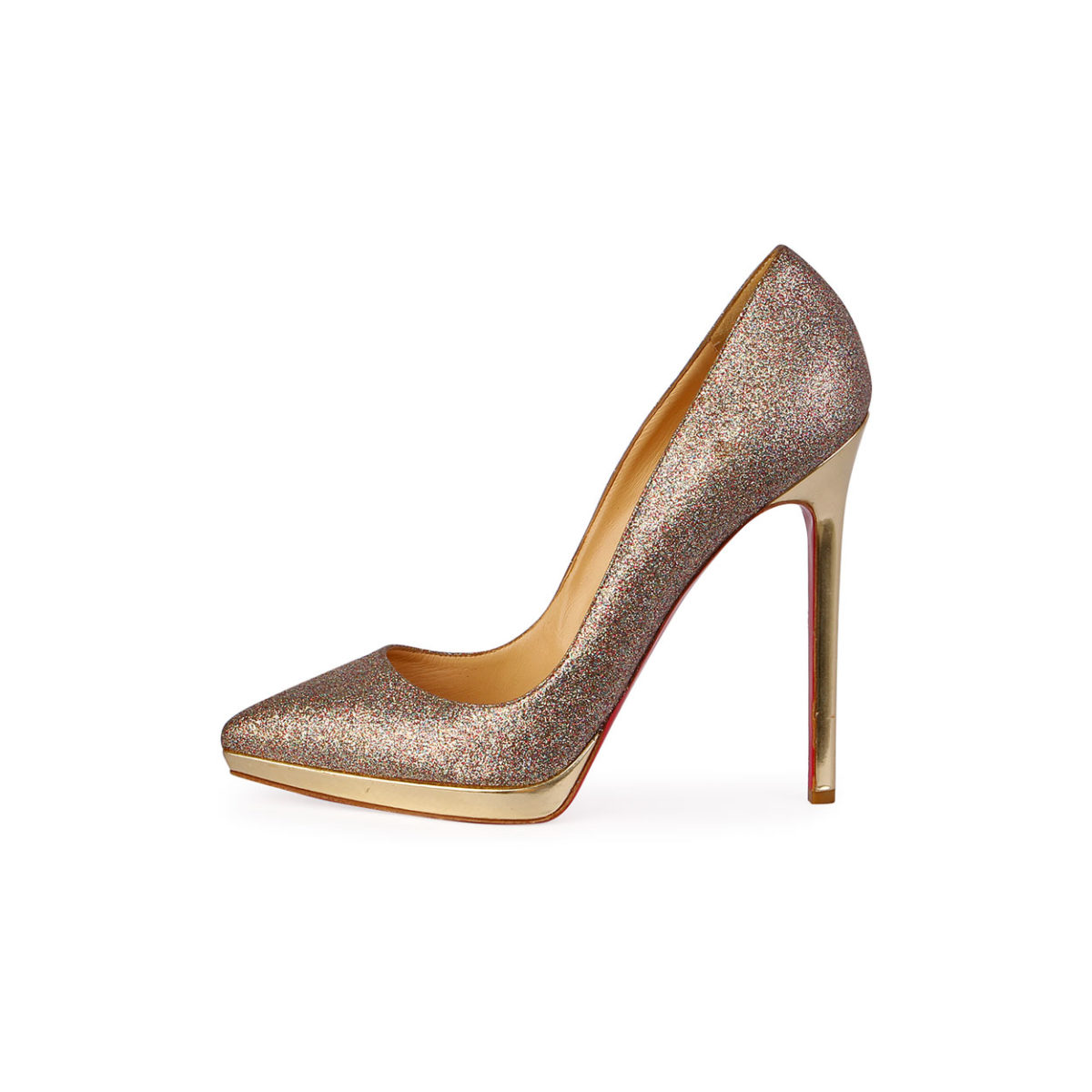 huge discount 6eef0 5e0e3 CHRISTIAN LOUBOUTIN Pigalle Plato Glitter Stiletto Pump Gold - S: 40 (7)