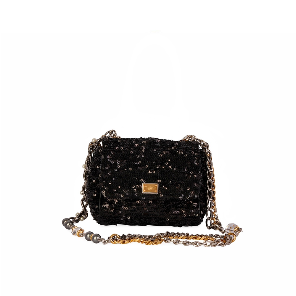 b3f78a379c DOLCE   GABBANA Sequinned Mini Evening  MISS CHARLES  Bag Black