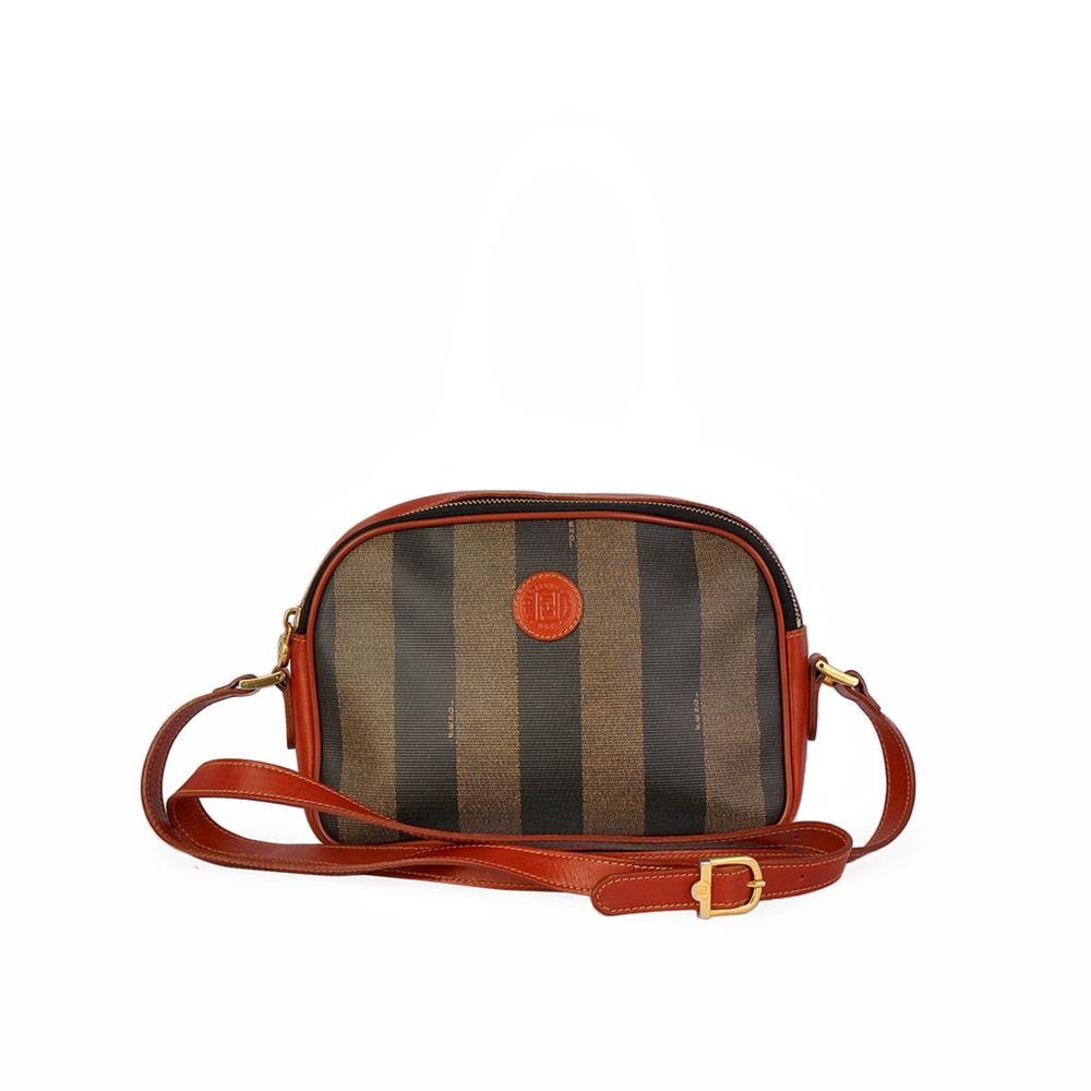 FENDI Pequin Crossbody Bag Brown