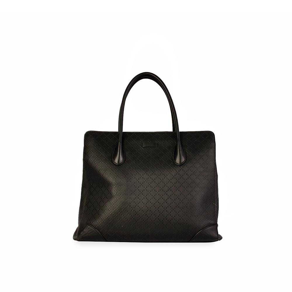 6d81e54c60b2 GUCCI Bright Diamante Leather Tote Black   Luxity