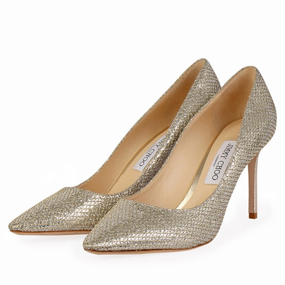 5d0121432cd JIMMY CHOO Glitter Pumps Silver - S: 40.5 (7.5) | Luxity