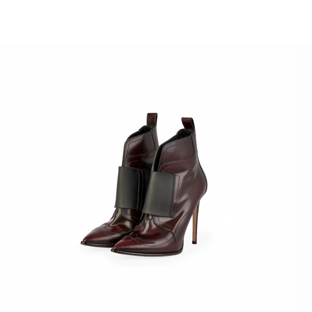 JIMMY CHOO Mazzy Leather and Elastic Ankle Boots Bordeaux ...
