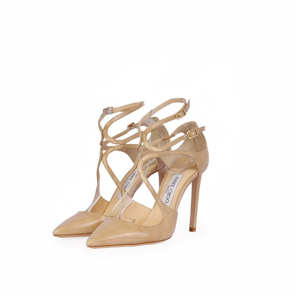 e29ad203f345b JIMMY CHOO Patent Lancer 100 Pointy Toe Pumps Nude – S  38 (5) - New ...