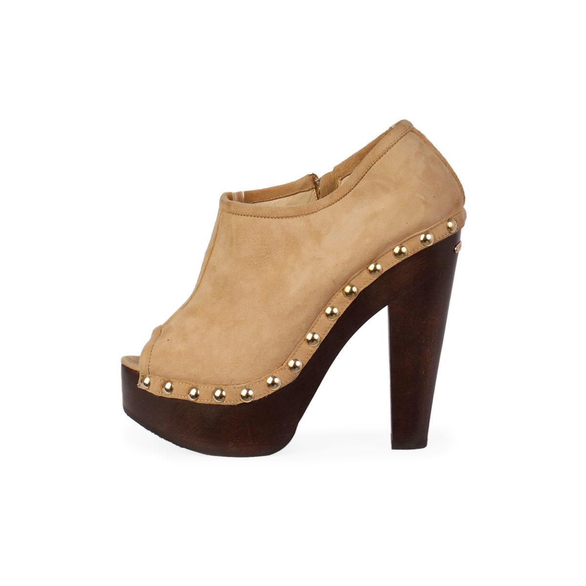 Jimmy Choo Suede Clog Wooden Heel Boots Tan S 39 6