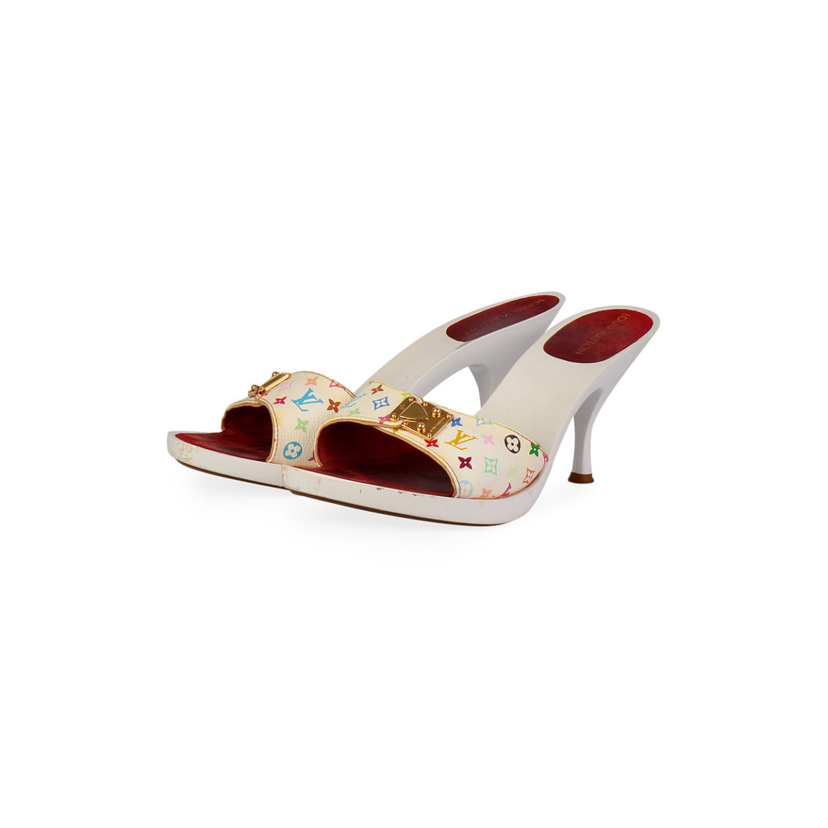 4c0efa25835 LOUIS VUITTON Multicolor Slide Kitten Heel Sandals – S  41 (7.5 ...