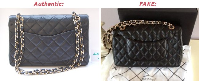 Real and fake Chanel bags