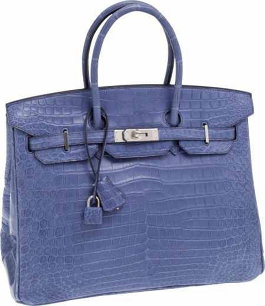 f58c5450b3bb Brighton Blue Porosus Crocodile Birkin Bag with Palladium Hardware