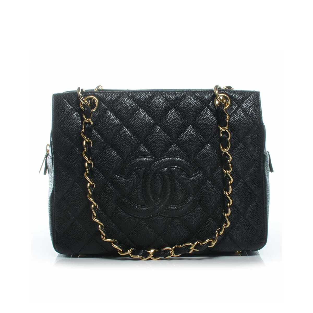 98211fcf26b8 CHANEL Caviar Leather Petite Timeless Shopping Tote Black