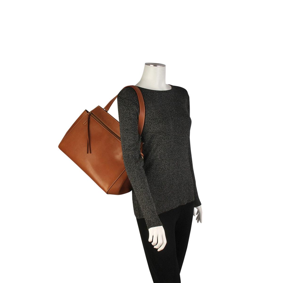 1baa48e41c4b CELINE Edge Leather Tote Brown