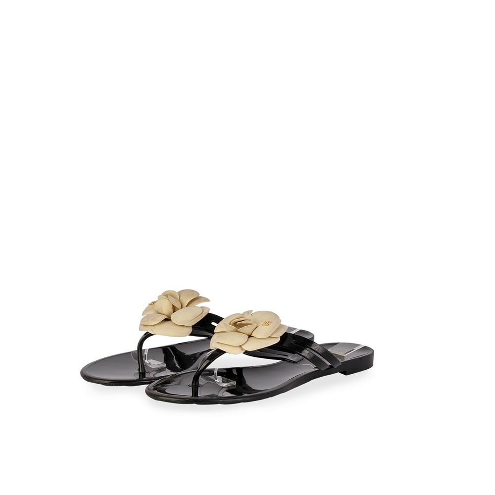 edbb8b3ed2e2 CHANEL Camellia Flower Thong Sandals Black – S  40 (6.5)
