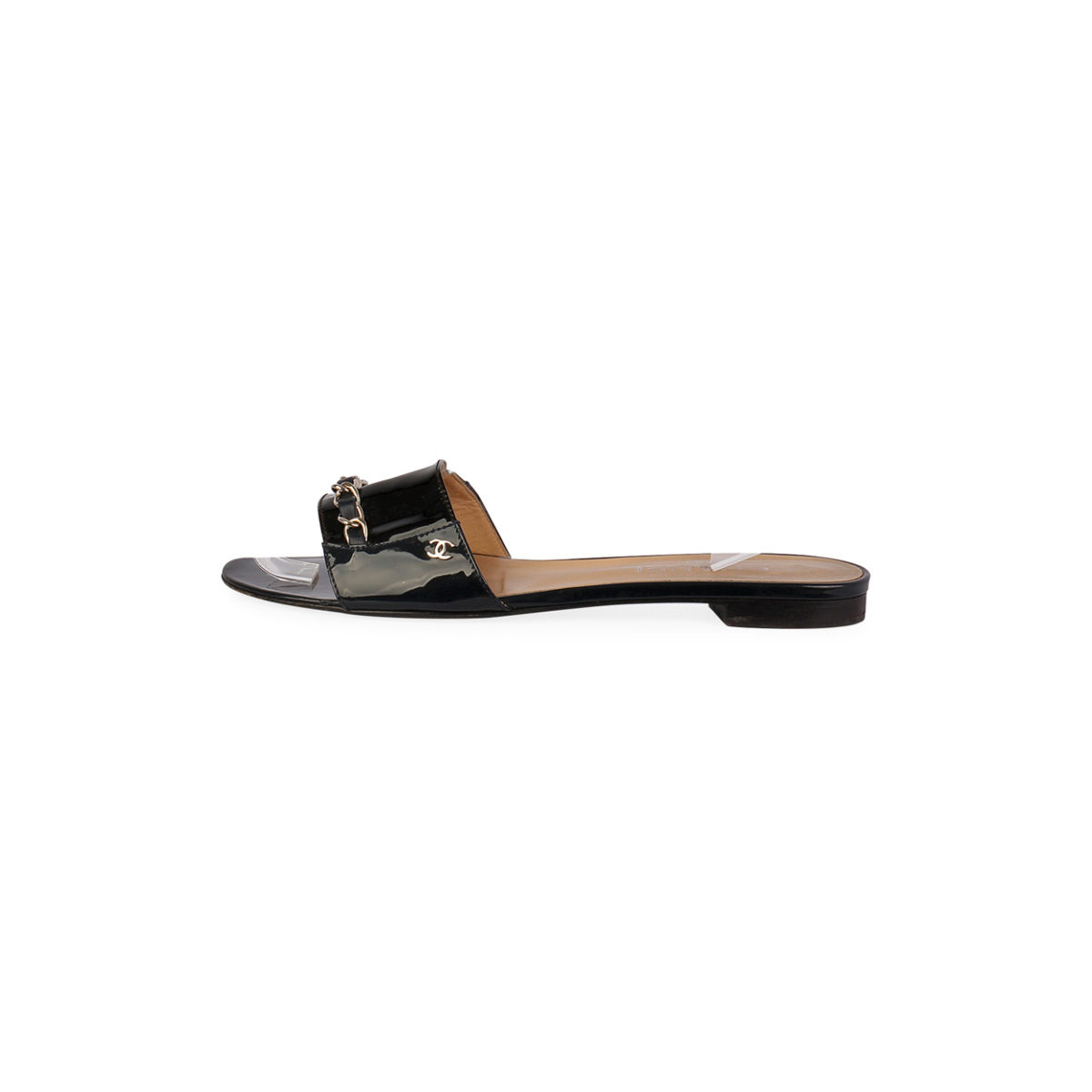 ab440093793 CHANEL Chain Link Patent Flat Sandals Black – S  39 (6)