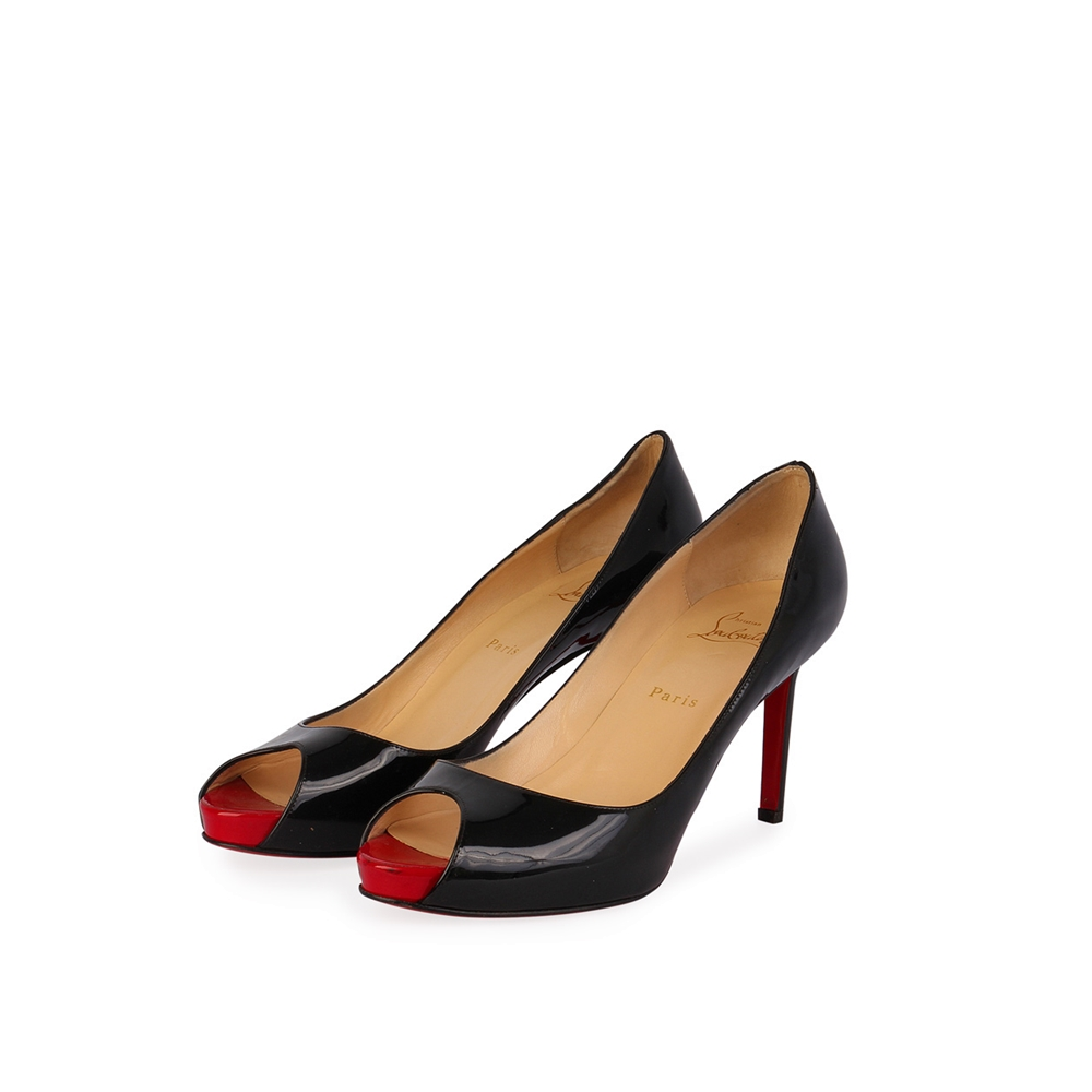timeless design aa999 57905 CHRISTIAN LOUBOUTIN Patent Leather Peep Toe Pumps Black – S: 40 (7)