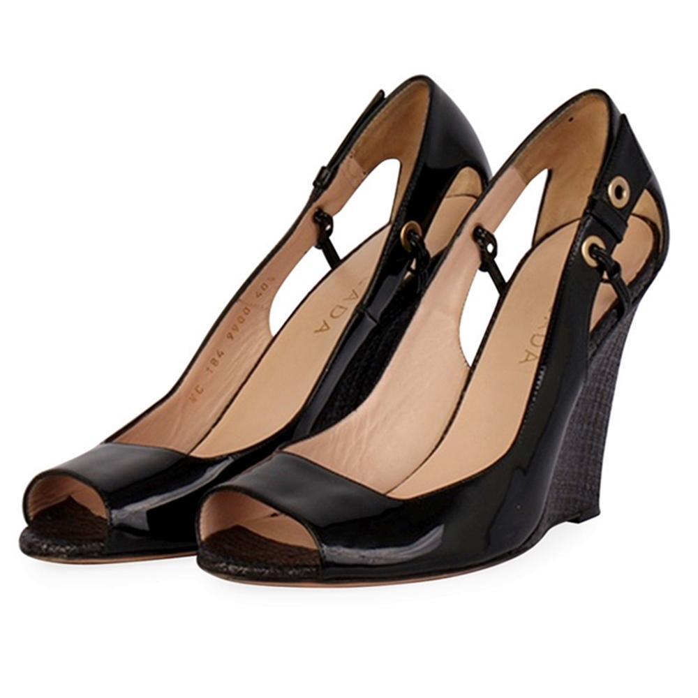 08d13ff50d ESCADA Patent Leather Peep Toe Wedges Black - S: 40.5 (7) | Luxity