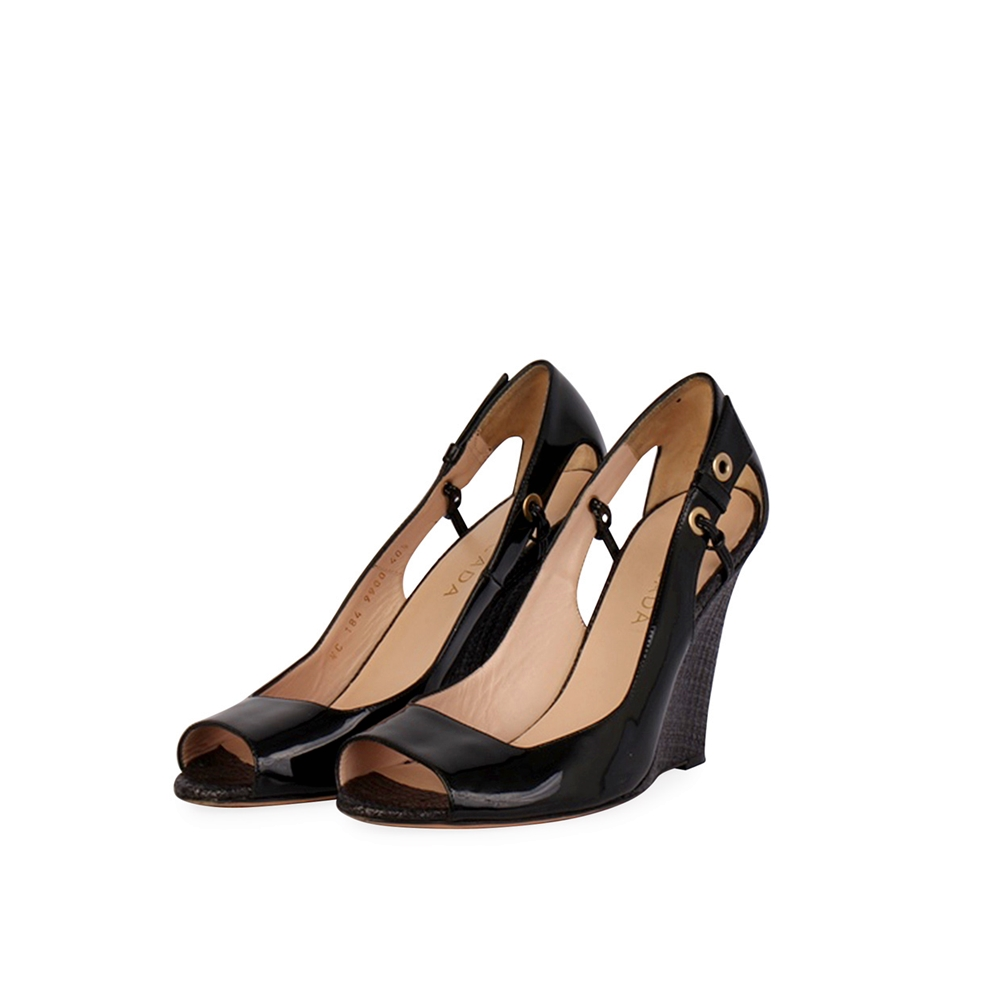ESCADA Patent Leather Peep Toe Wedges