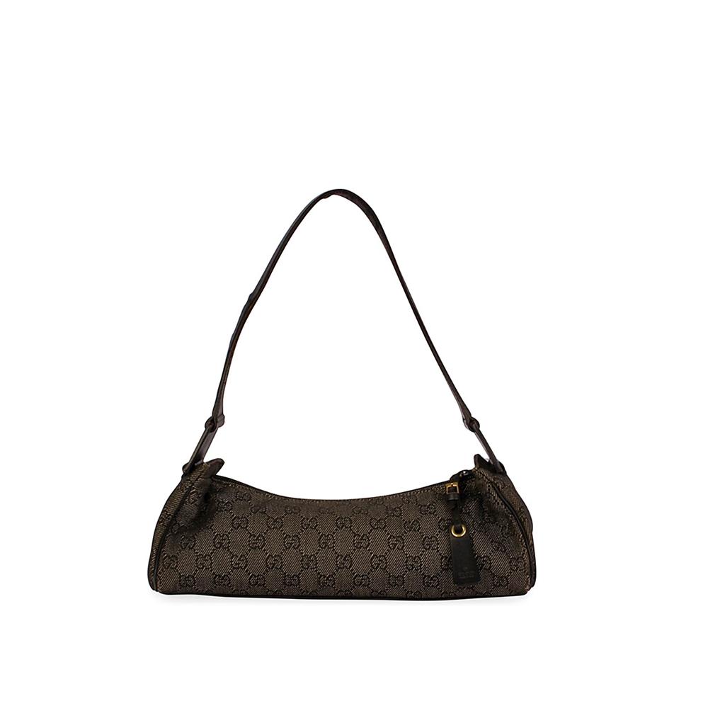 08d707d3f63e2 GUCCI GG Denim Small Shoulder Bag Black